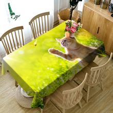 3D Tablecloth Cute Kitten Puppy Pattern Polyester Cotton Material Dustproof Home Party Decoration Table Cloth