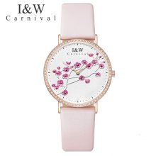 Carnival IW Genuine Fashion Trendy Women's Watch Simple Leather Quartz Watch Women's Watch Slim Student College Literary Watch(China)