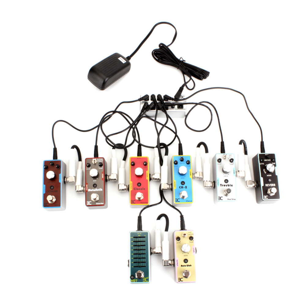 Silver Power Supply Pack Guitar Effect Pedal Multi-Way 9V Adjustable Voltage Power Pack Supply With 8 Effects Pedal стоимость