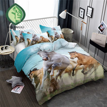 HELENGILI 3D Bedding Set Horse Print Duvet Cover Lifelike Bedclothes with Pillowcase Bed Home Textiles #M-05