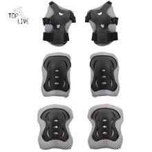 6pcs/set black Skating Protective Gear Set Elbow pads Bicycle Skateboard Ice Skating Roller Protector For Kids