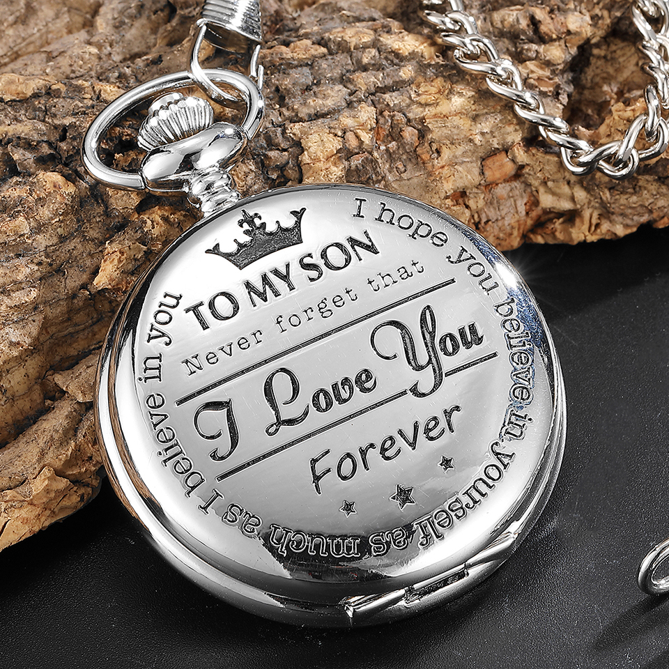 Pocket Watch TO MY SON I LOVE YOU Laser Engraved Quartz Flip Clock For Boy Birthday Children's Day Fob Chain Clock Kids Gift