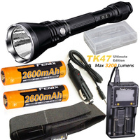 Fenix TK47 UE Ultimate Edition 3200 Lumen LED Tactical Flashlight with ARB L18 2600 battery, ARE C1+ charger,car charger