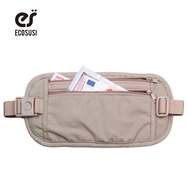 ECOSUSI Waist Bag High Quality Travel Waist Pouch Belt Money Wallet Bags Passport Holders Change Safe Strap