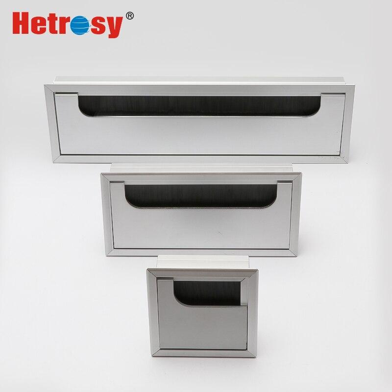 Hetrosy Büro Hardware Matt Schwarz Rechteck Draht Kabel Tülle Aluminium Quadratischen Tisch Schreibtisch Tülle mit Mehrere Größen