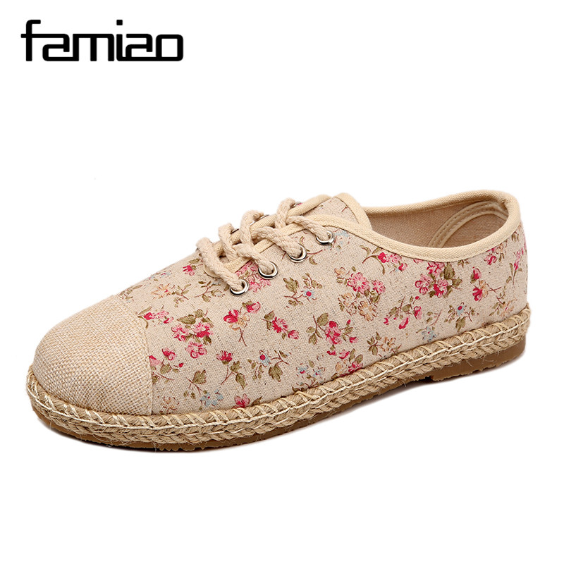 FAMIAO 2017 New Women Flower Flats Slip On Cotton Fabric Casual Shoes Comfortable Round Toe Student Flat Shoes Woman Plus Size new arrival spring floral flat shoes women casual flats cotton fabric shoes woman round toe slip on ladies big size shoes eu42