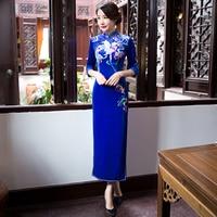 06f6c62a78 New Arrival Fashion Blue Velour Long Cheongsam Chinese Women S Dress Elegant  Qipao Vestidos Size S