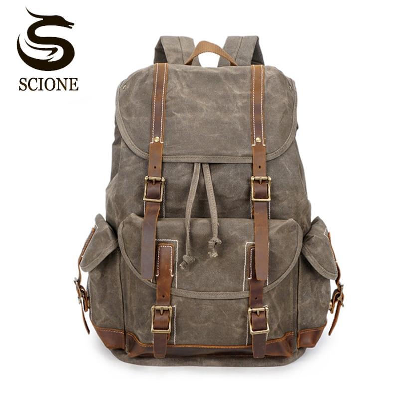 Vintage Oil Wax Canvas Backpack Men Waterproof Travel Shoulder Bag High Quality Fashion Student Bag Laptop Male Backpack