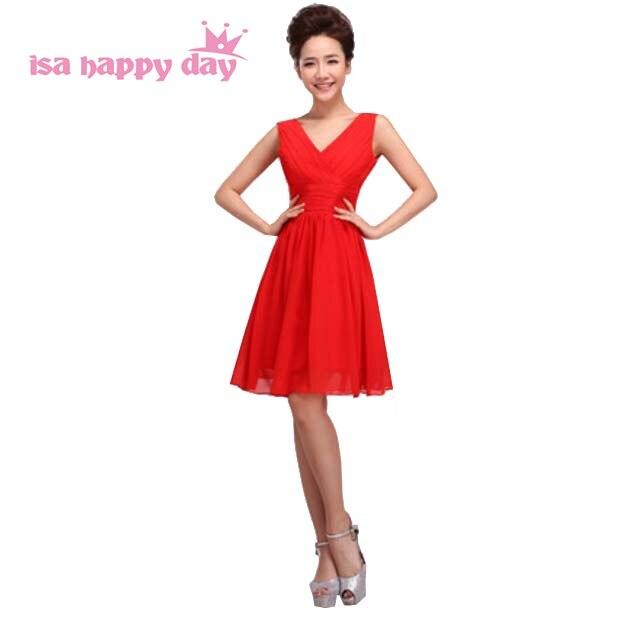 Formal Robes De Soiree Vintage Short Red Bridesmaid V Neck Bridemaid Short Vestidos De Festas Dress Elegant Dressses H1180
