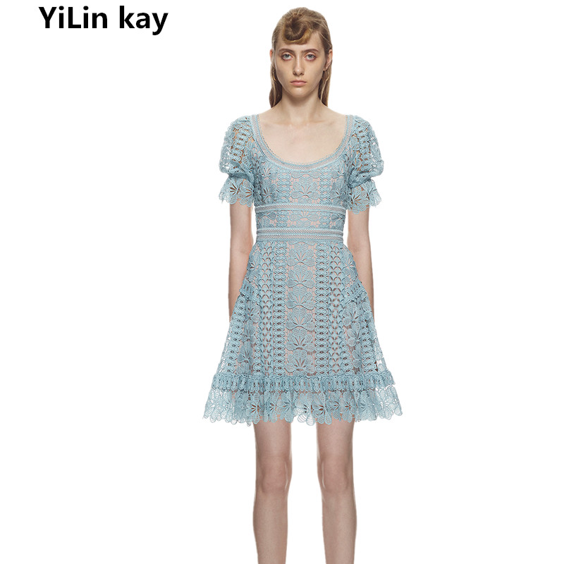 YiLin kay 2019 High-end custom self portrait Water soluble lace round lead bubble short - sleeved dress.