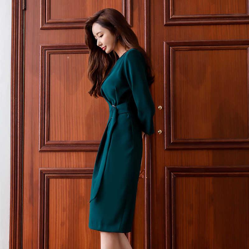 OL стильное темно-зеленое женское платье с О-образным вырезом и тонкой талией, Осеннее элегантное женское платье средней длины, Vestidos, для работы, бизнеса, для женщин, для вечеринок