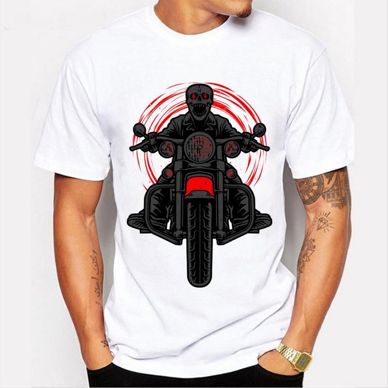 2018 Summer New Fashion 3D Cartoon Skull Motorcycles   T  -  shirts   Man Car Style Male Short Sleeve   T     Shirts   Moe Cerf H8-59#
