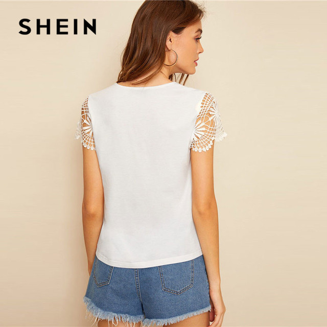Cut Out Front Guipure Lace Short Sleeve Summer Top 1