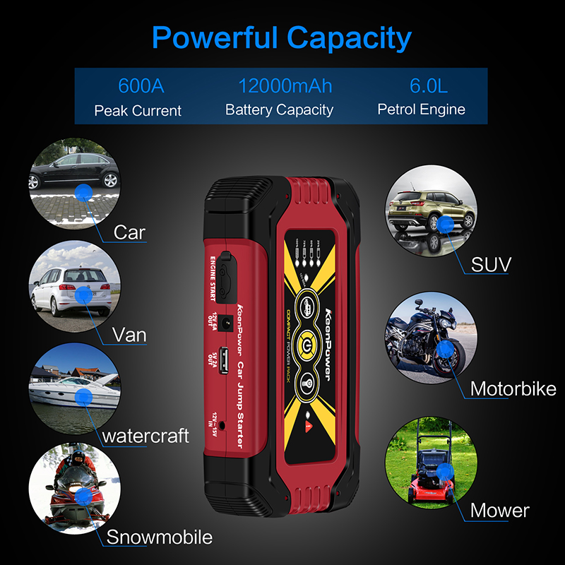 Keenpower High capacity Portable 12V 600A/900A Car Power Battery Booster Buster Petrol Diesel Car-Stlying Car Jump Starter