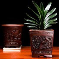 Classic Purple Clay Flower pot Balcony Bonsai pot indoor Green Plant Pot Hand Carved Clivia Flower pots