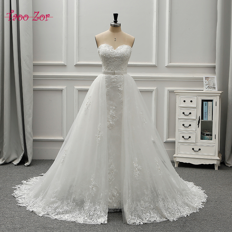 Detachable Trains For Wedding Gowns: Taoo Zor Two Pieces Pearls Lace Mermaid Wedding Dresses