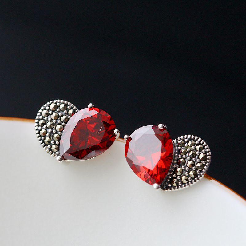 Ecoworld Ge jewelry wholesale hand set garnet zirconium 925 pure love retro Silver Earrings Silver Earrings