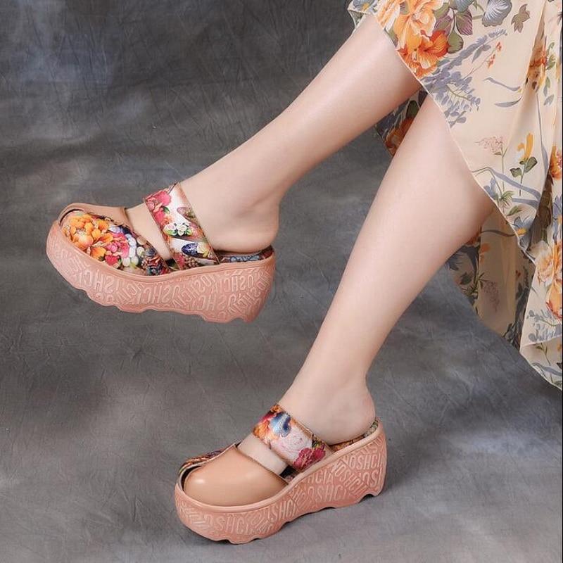 2019 summer Women Shoes female High Heels Slippers Genuine Leather Women Slippers female sandals2019 summer Women Shoes female High Heels Slippers Genuine Leather Women Slippers female sandals