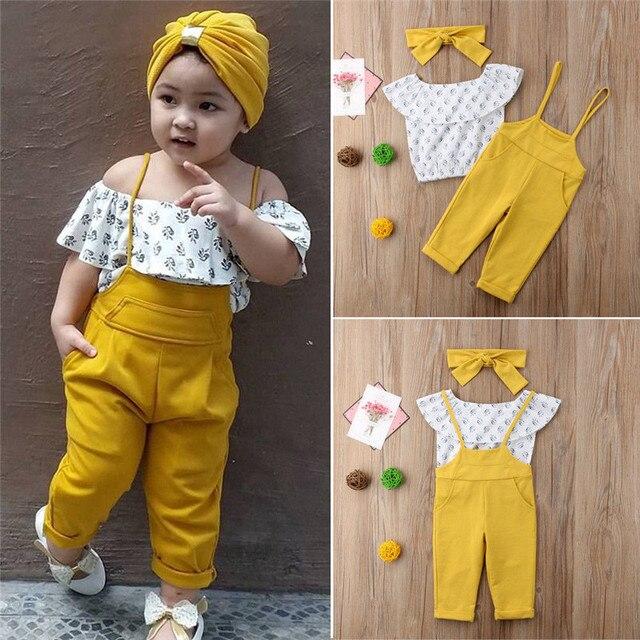 Toddler Bé Gái Quần Áo Trẻ Tắt Shoulder Floral print không tay Ruffle áo thun Tops strap rắn Quần 2 cái bông outfit