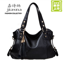 Free shipping genuine PU leather shoulder  bag fashional handbag versatile lady bag chain bag shoulder  and hand 2 in 1 bag