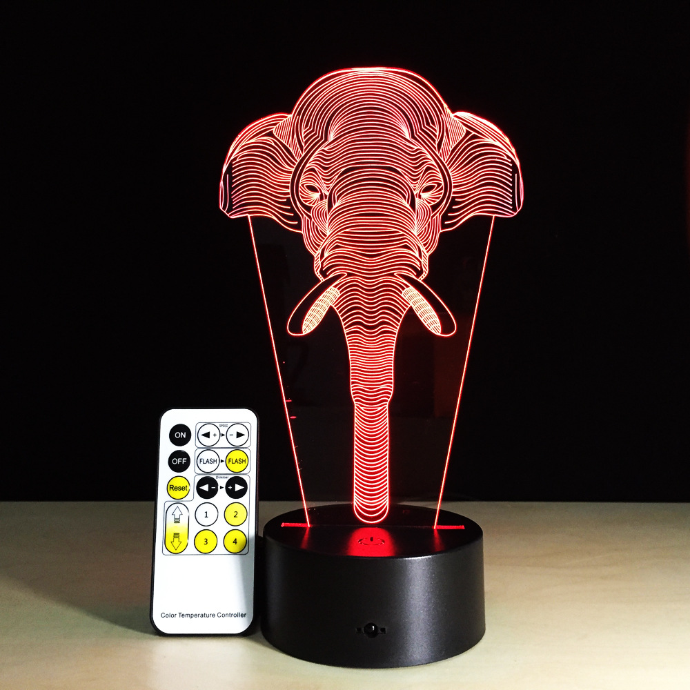 Elephant 3D Lamp Illusion Kids Sleeping Atmosphere Light Colorful LED Lamp Baby Toy Birthday Holiday Gift USB Remote Control