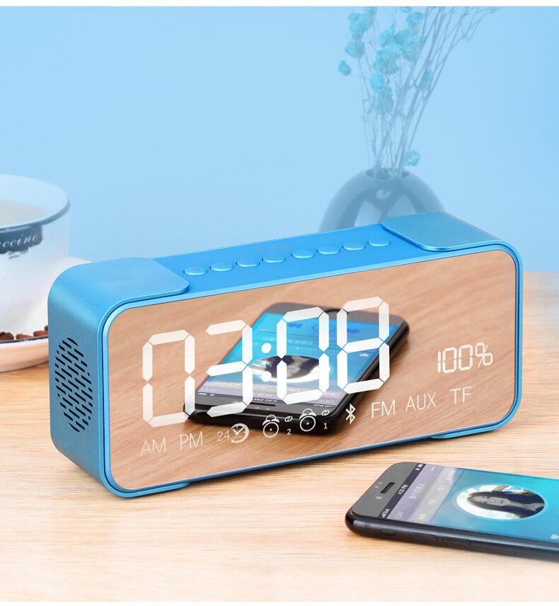 Bluetooth sans fil haut-parleur Portable système de son 3D stéréo boîte à musique avec TF USB FM Radio partie haut-parleur miroirs avec horloge Q8