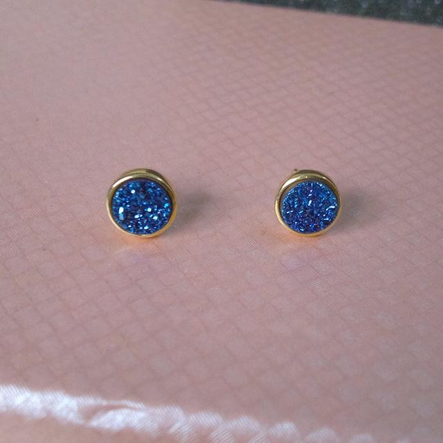 Lucky Sonny Hot Sale Shining Druzy Joyas Pure 925 Sterling Silver Stud Earring for Women Blue Quart Natural Agate Druzy Earrings