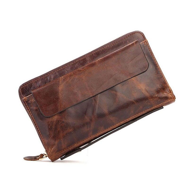 Brand Men Wallets Hot Sell Vintage Genuine Leather Men Handbag Men Clutch Purses Phone Pocket Business Cases Credit Card Holders