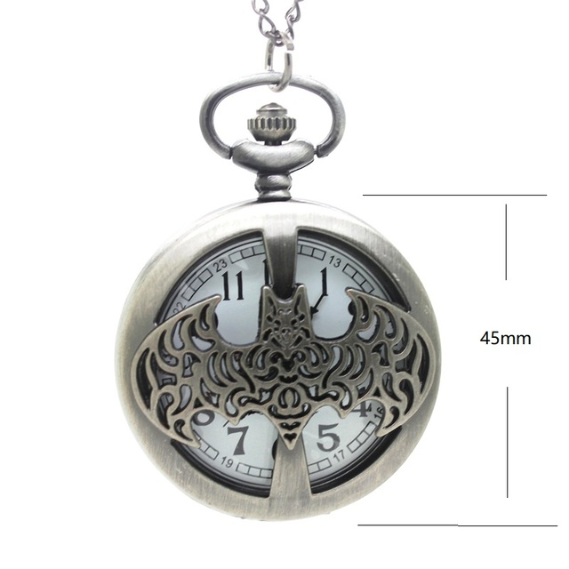 (1153) vintage silver ancient bat design pocket watch necklace. Christmas trees