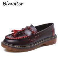 Bimolter 2018 Aumtumn Tassels Oxford Shoes Women Slip On Shoes Female Students Comfortable Casual Flat Shoes Size 34 43 PFEA041
