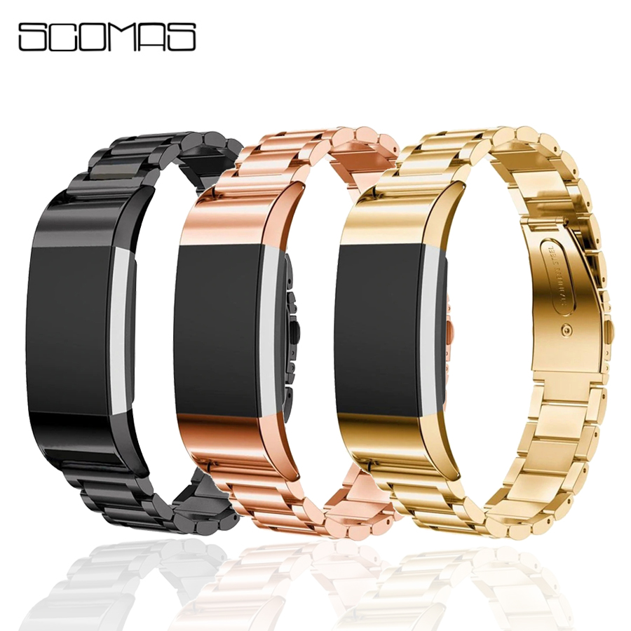 SCOMAS For Fitbit Charge 2 Band Stainless Steel Replacement Watch Strap Adjustable Classic Wrist Bracelet For Fitbit Charge 2 fitbit charge 2 replaceable watch strap rose gold page 8