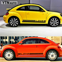 free shipping 2PC side door cool Racing Styling accent vinyl graphic love stripe decals for mini smart beetle on