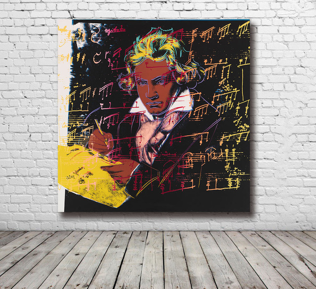 Moda duży rozmiar obrazy na ścianę do salonu wystrój domu andy'ego warhola beethovena 1987 obraz olejny na płótnie drukowane