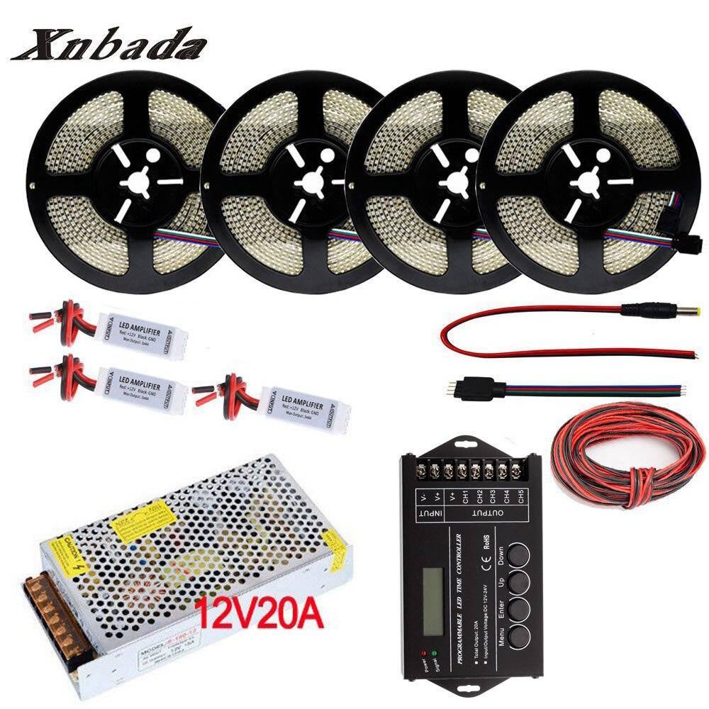 5-20M RGB LED Strip 3528/2835 234 LEDs/m DC12V Flexible Light RGB Neon Strip + DC12V-24V TC420 RGB Led Controller + Power Supply arlight лента 5 метров rt 2 5000 24v cool 8k 2x 3528 600 led lux