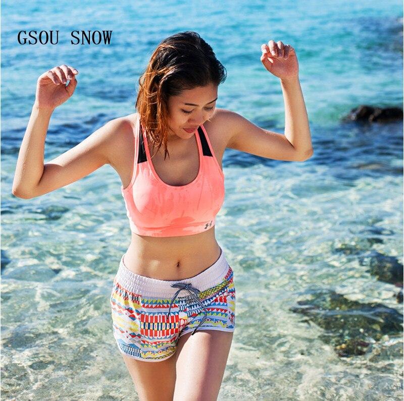 Gsou Snow Beach Board Shorts Women Surf Swimwear Bikini Female Colorful Printed Sports Shorts Swimming Diving Surfing Shorts swimming shorts for women