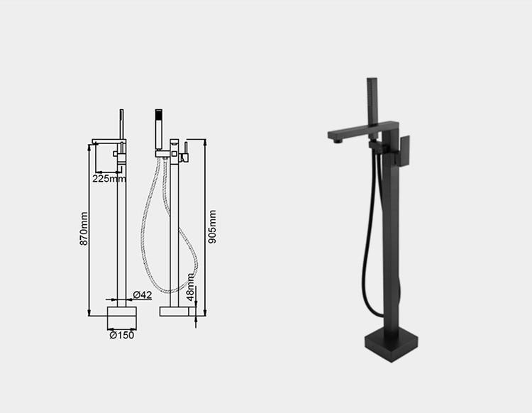 Rolya Matte Black Floor Standing Bathtub Faucets (6)