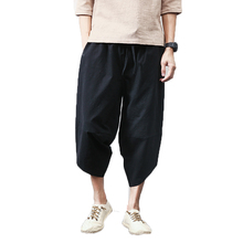 Hot sale Summer Linen Hip Hop Harem Pants Men Casual Wide Leg Pants Cross Bloomers Trousers Joggers M-5XL dropshipping