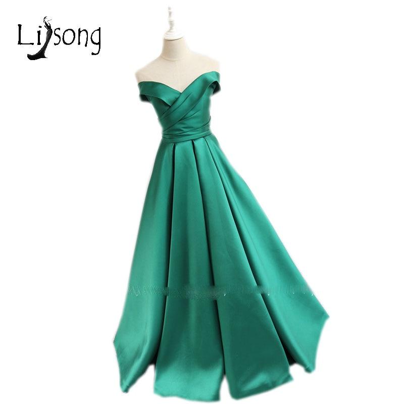 Elegant Green Long Evening Dresses High Quality Off Shoulder A-line ...