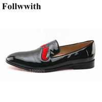 2018 Follwwith Brand Design Luxury Quality Smoking Red Beard Men Casual Shoes Flats Slip On Wedding