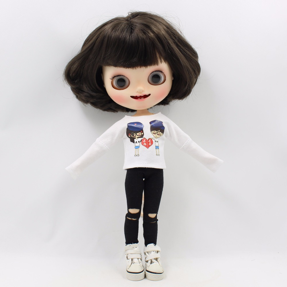 Neo Blythe Doll White Shirt with Black Pants 1