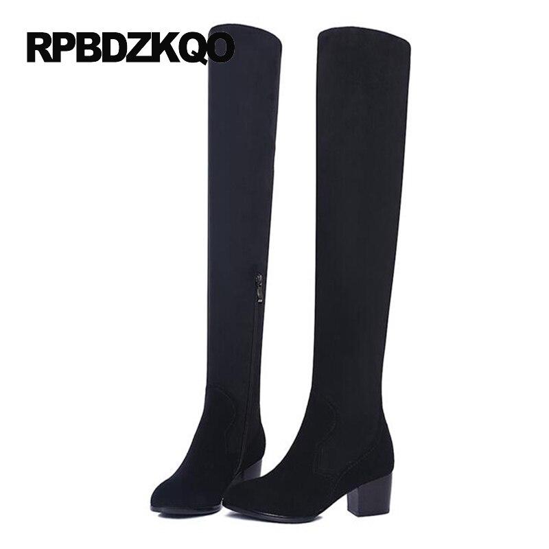 LICRA zapatos de tacón alto estiramiento sobre la rodilla moda delgada piel de oveja cuero genuino gamuza muslo mujeres botas largas gruesas - 4