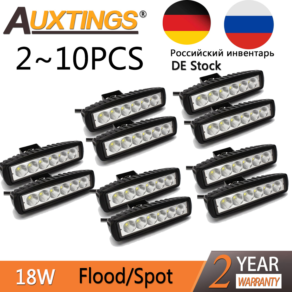 Auxting 18W LED Work Light Bar Spot Light Flood Lamp Driving Fog Offroad LED Work Car Light For Jeep SUV 4WD Led Beams 12V 24V