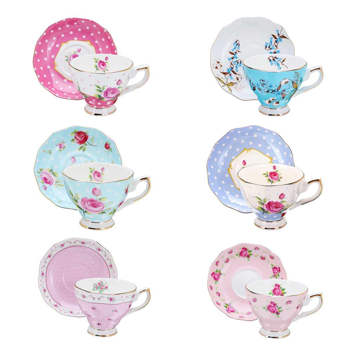 6 Style 240ml Blue Pink Porcelain Fashion British Bone China Coffee Cup Saucer Ceramic Flower Tea Set