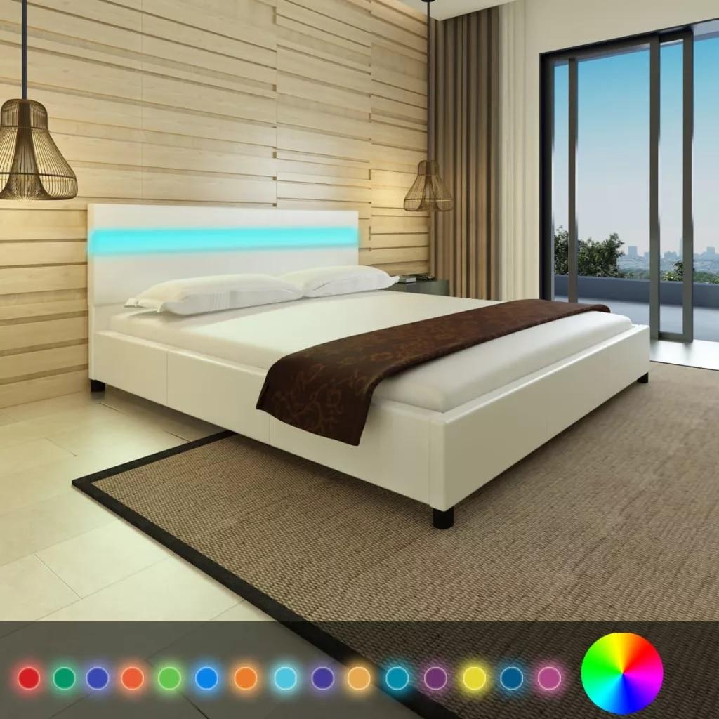 EHOMEBUY 2019 Nouveau VidaXL Artificielle Cadre avec LED Tête de Lit En Cuir Lit Cadre 3 Tailles Chambre Meubles 2 Couleurs En Option