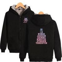LUCKYFRIDAYF 2018 MONSTA X Hoodies sweatshirts Winter Thick Hooded Jacket Coat Zipper Kpop Korean Harajuku Hip Hop clothes