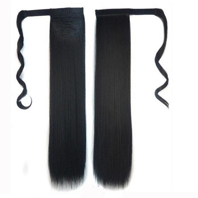 New Clip In Straight Pony Tail Human Hair Extension