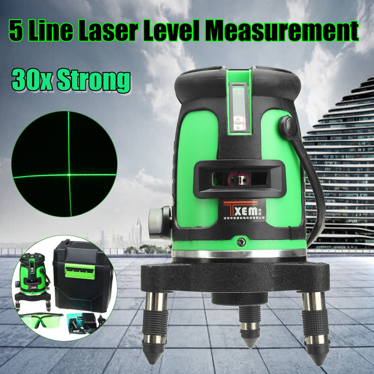 5 Line 3D Laser Leveler 360 Degree Self Leveling Vertical Horizontal Level Cross Powerful Laser Beam Line Color Green aculine ak436 360 degree rotating red beam self leveling cross laser line lightspot