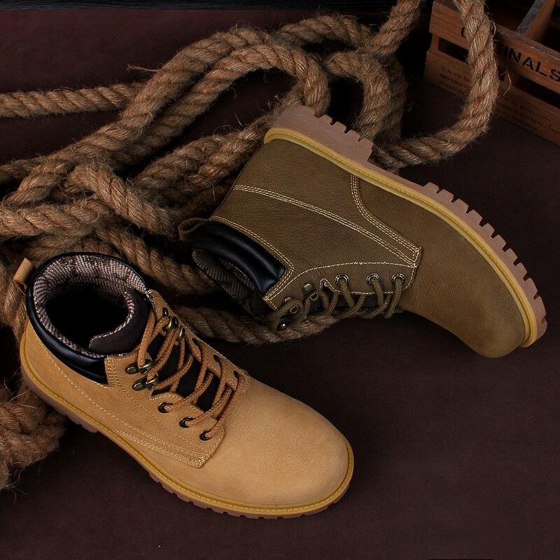Botas de trabajo para hombre al aire libre de tamaño pequeño NINYOO botas de invierno de cuero genuino a prueba de agua a prueba de desgaste botas del ejército hombres Plus Size36 48 - 4