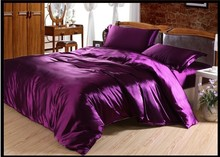 Luxury Purple Silk Bedding set California King size Queen full twin Satin duvet cover bed sheet bedspread linen bedsheet 4PCS