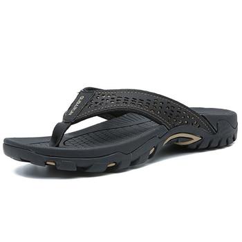 Merkmak 2019 Summer Men Shoes Mens Flip Flops Trendy Anti-slip Leather Casual Shoes Classic Massage Beach Slippers Big size 46 3